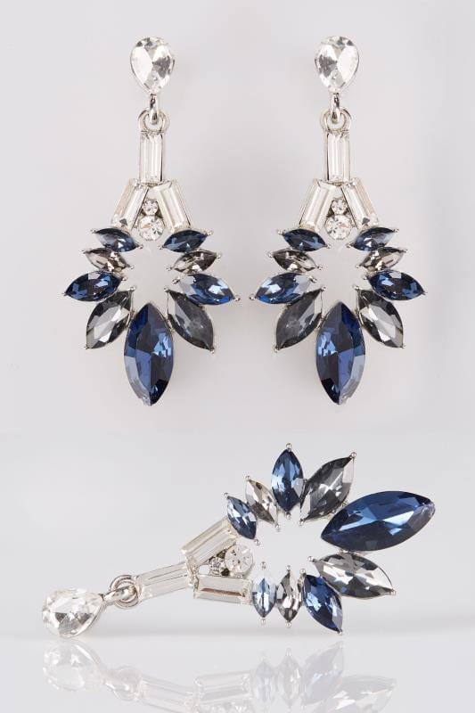 Plus Size Earrings Silver & Deep Blue Floral Diamante Drop Earrings