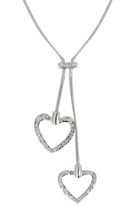 Silver Diamanté Heart Pendant Necklace