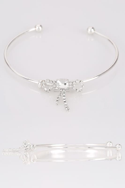 Plus Size Jewellery Silver Diamante Bow Bracelet