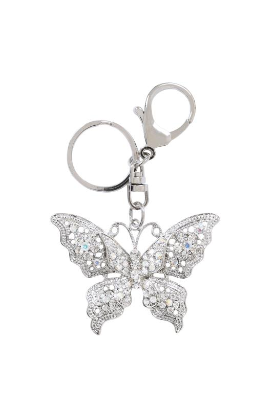 Plus Size Gifts Silver Diamante Butterfly Keyring