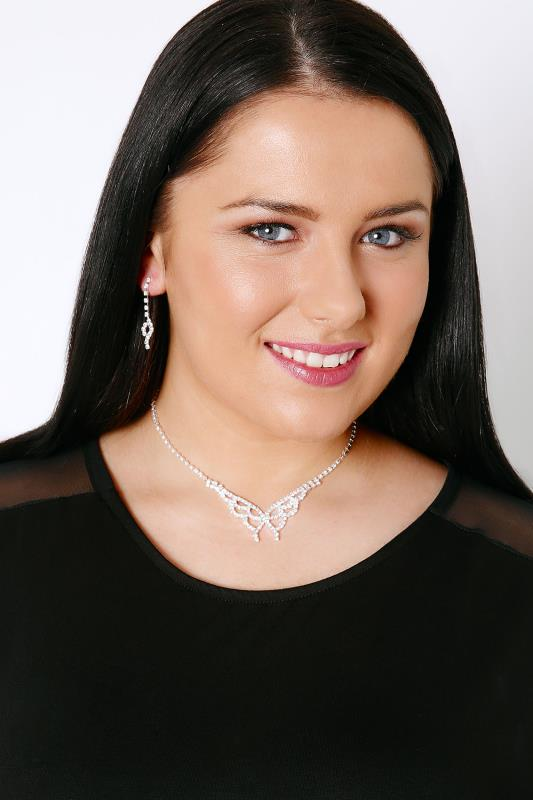 Silver Diamante Butterfly Necklace & Dangle Earring Set