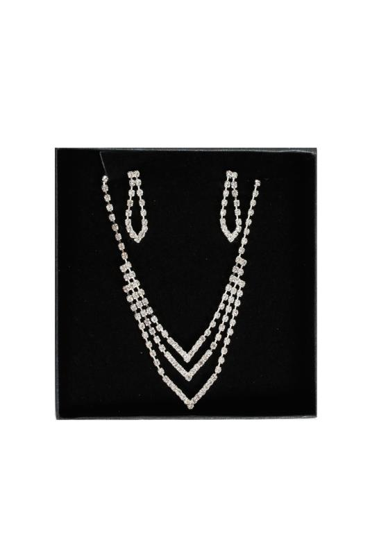 Jewellery Silver Diamante Chevron Necklace & Dangle Earrings Set 102843