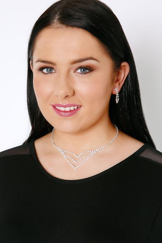 Silver Diamante Chevron Necklace & Dangle Earrings Set
