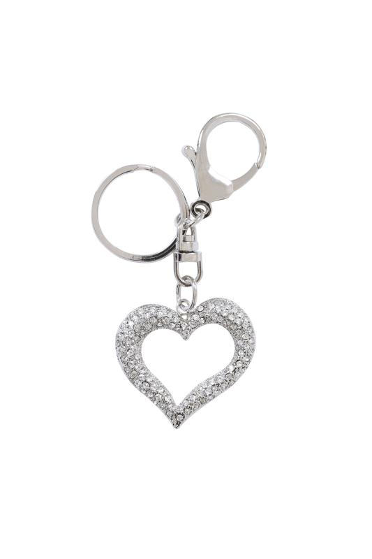 Gifts Silver Diamante Cut Out Heart Keyring 102859