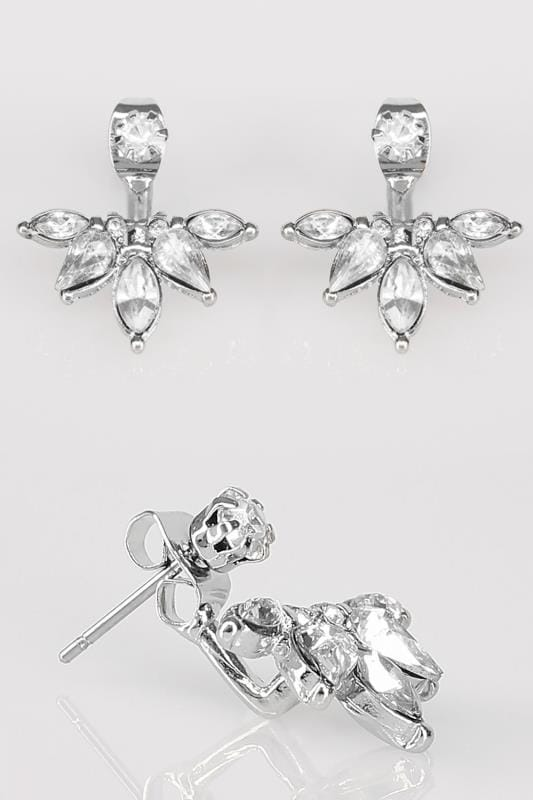 Silver Diamante Half Flower Earrings