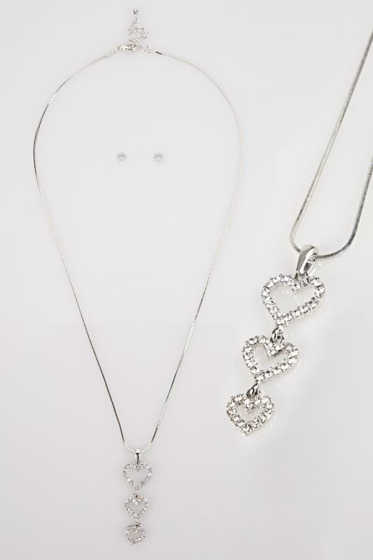 Silver Diamante Heart Necklace With Stud Earrings