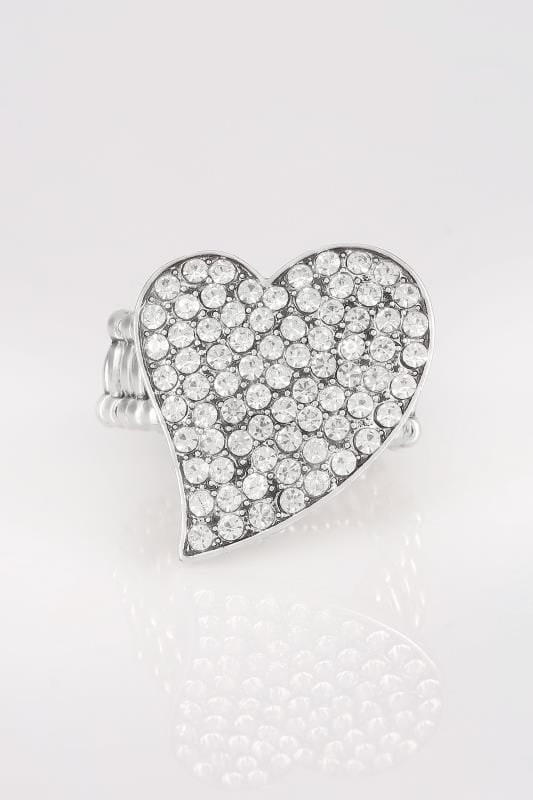Silver Diamante Heart Stretch Ring