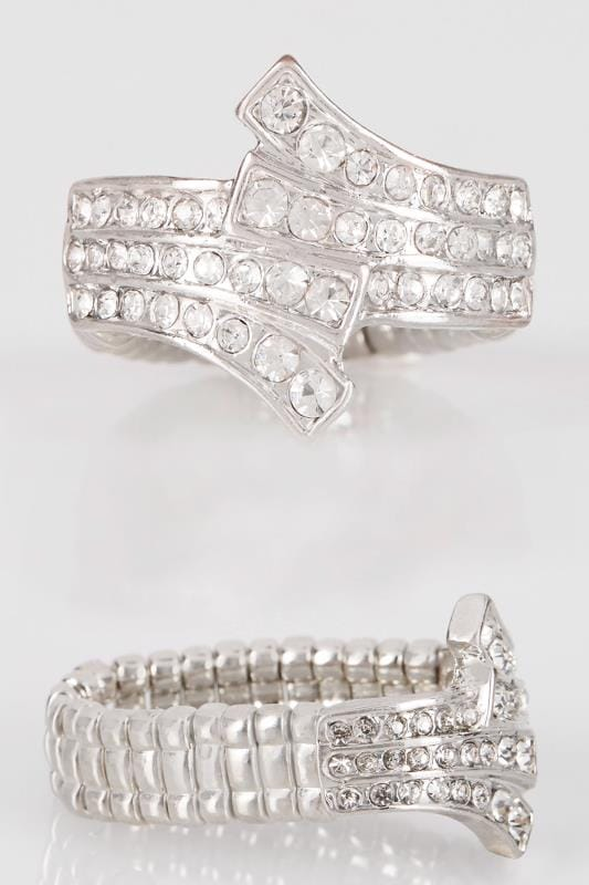 Silver Diamante Layered Ring