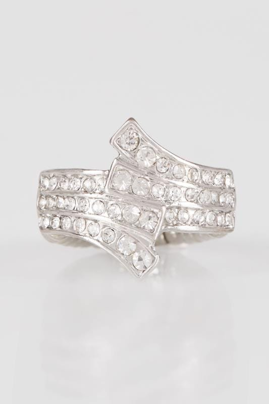 Silver Diamante Layered Stretch Ring