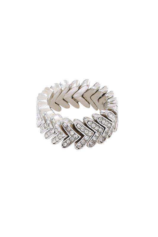 Silver Diamante Leaf Stretch Ring
