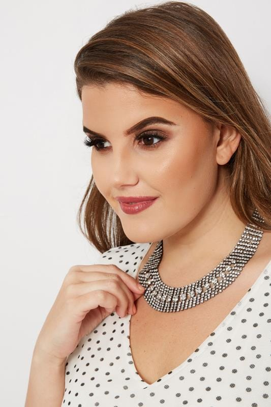 Plus Size Plus Size Jewellery Silver Diamante Necklace