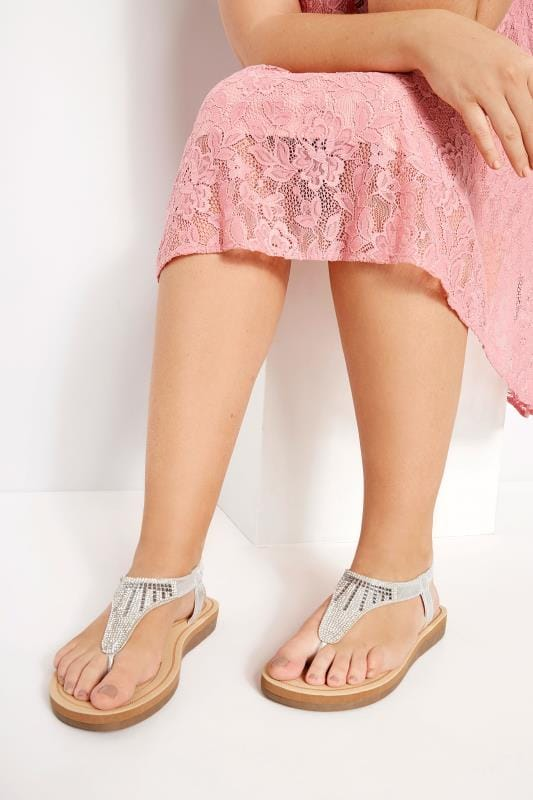 Wide Fit Sandals Silver Diamante Sandals
