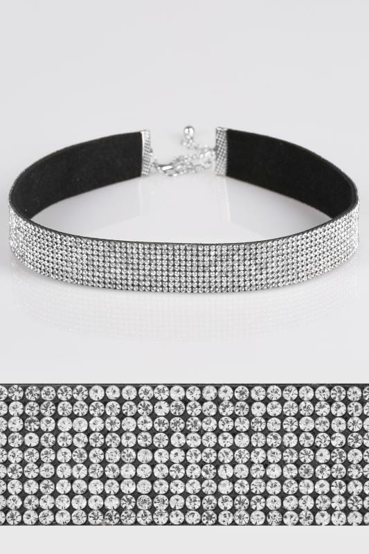 Silver Diamante Studded Choker