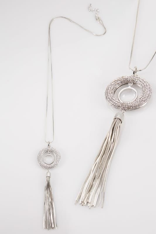 Silver Diamante & Tassel Drop Necklace