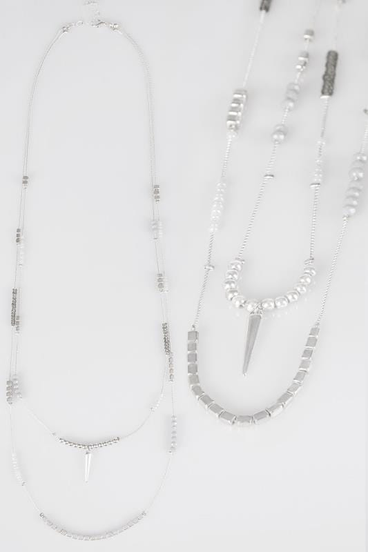 Plus Size Necklaces Silver Double Layer Necklace With Beading