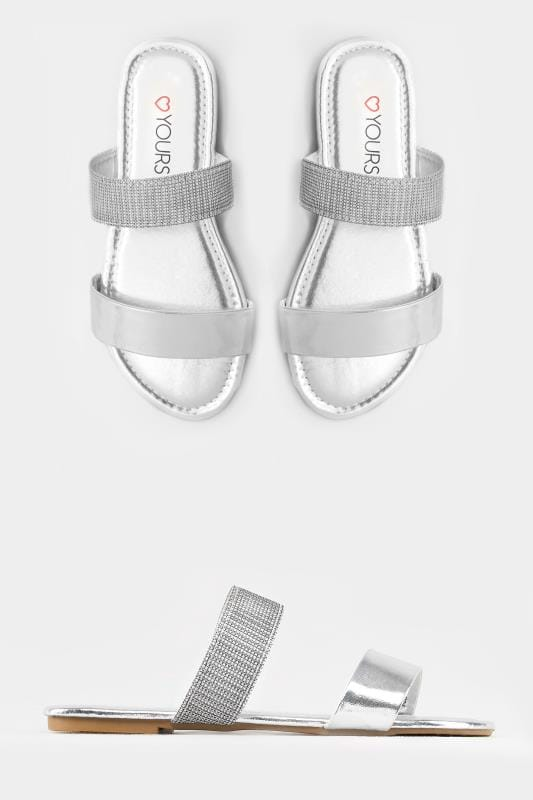 Silver Double Strap Slider Sandals In EEE Fit