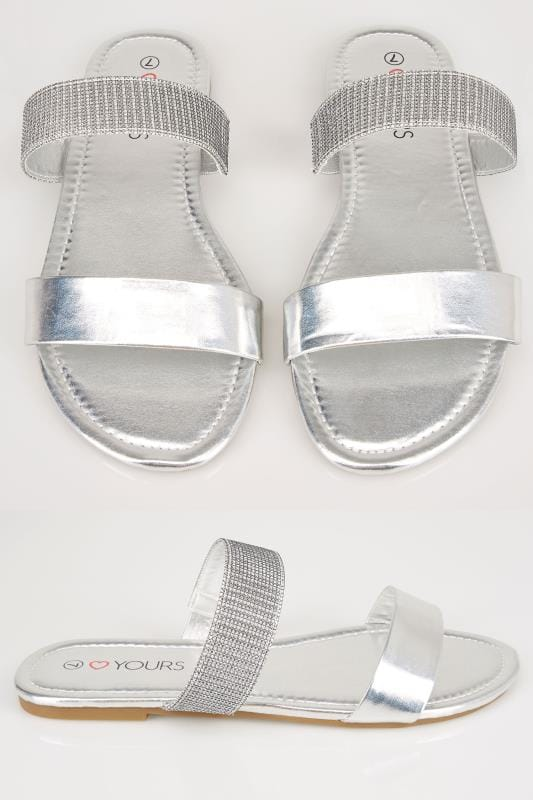 Plus Size Sandals Silver Double Strap Slider Sandals In EEE Fit