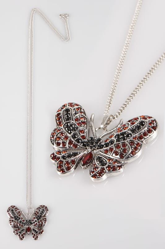 Silver Drop Butterfly Pendant Necklace With Diamante Details