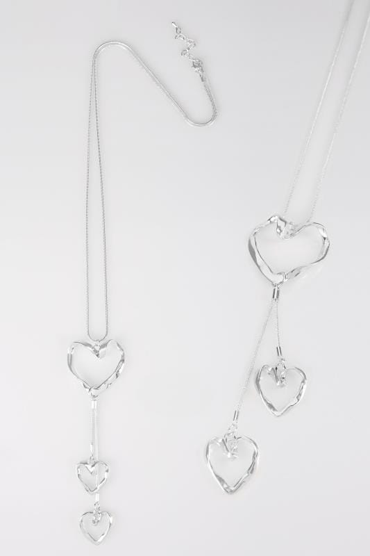 Silver Drop Necklace With Heart Pendants