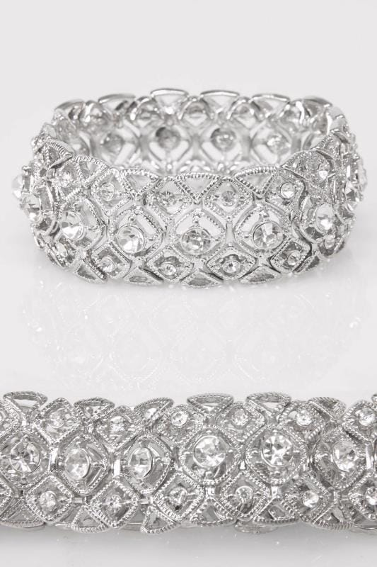 Silver Filigree Diamante Detail Stretch Bracelet