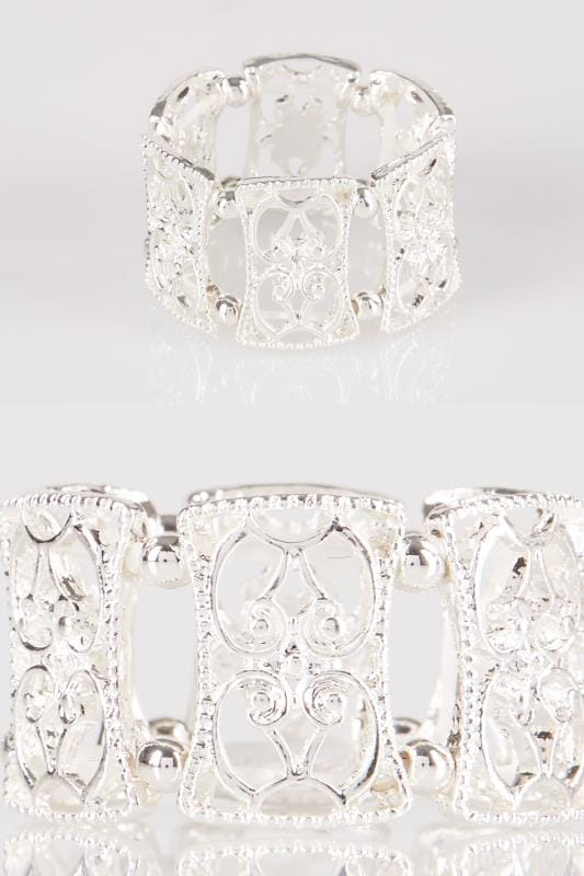 Plus Size Rings Silver Filigree Stretch Ring