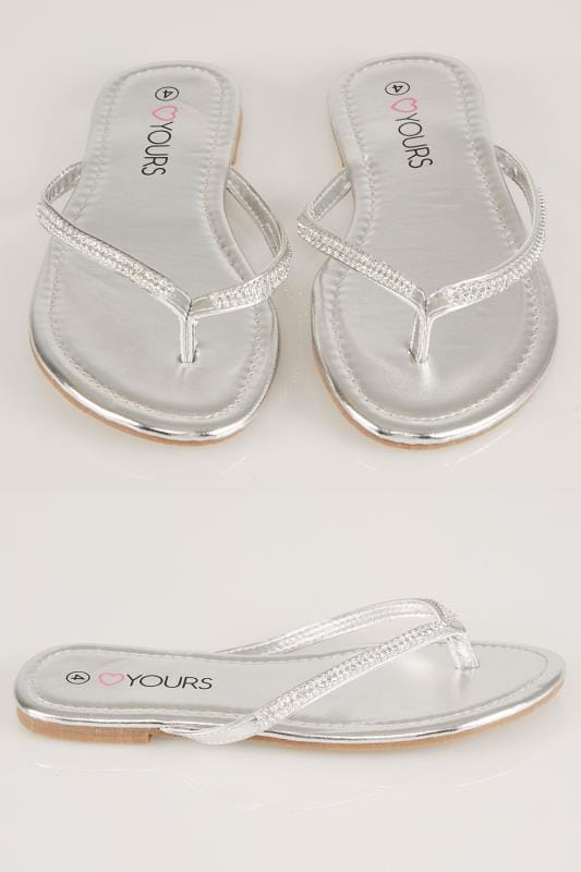 Wide Fit Flat Shoes Silver Flip Flop With Diamante Trim In TRUE EEE Fit