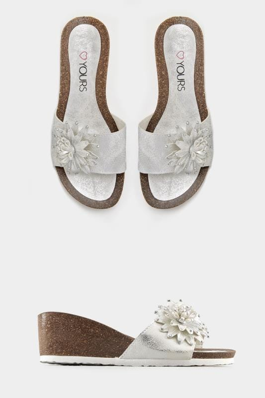 Silver Floral Applique Wedge Sandals In EEE Fit