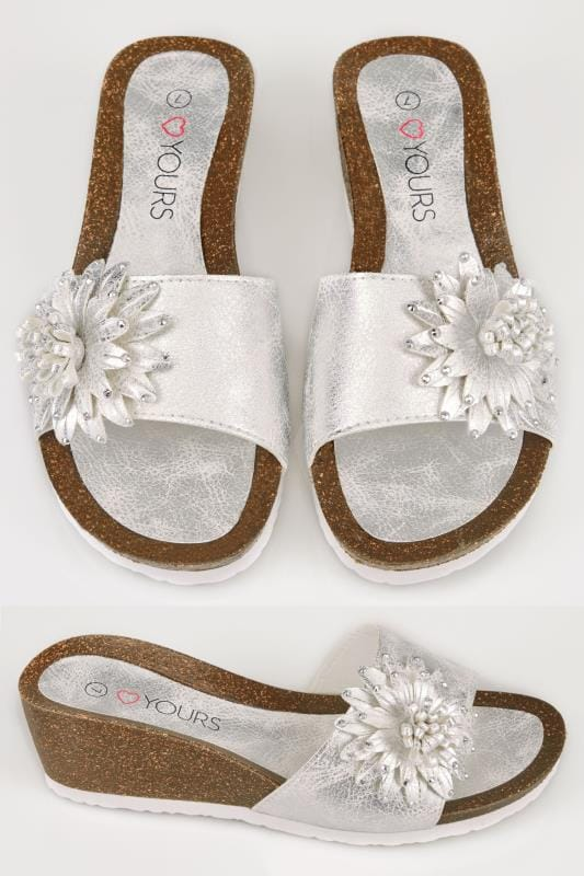 Wide Fit Wedges Silver Floral Applique Wedge Sandals With Diamante Details In TRUE EEE Fit