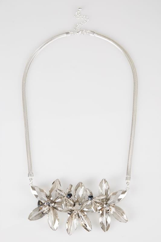 Silver Floral Jewel Necklace