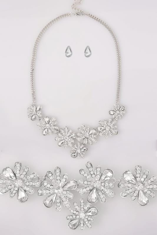 Plus Size Jewellery Silver Floral Necklace & Teardrop Earrings Set