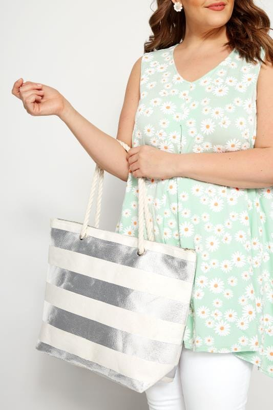 Bags & Purses Silver Foil Stripe Beach Bag