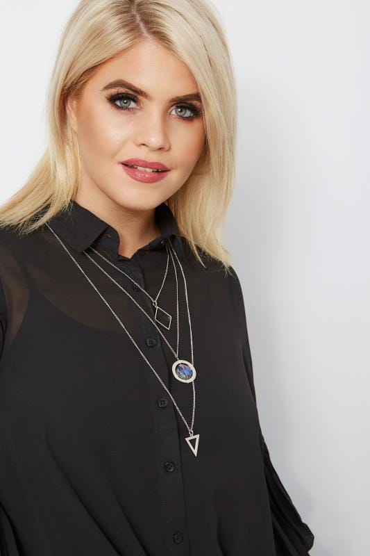 Plus Size Plus Size Necklaces Silver Geometric Layered Necklace