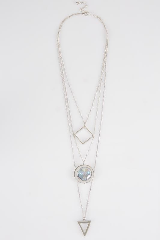 Silver Geometric Triple Layer Long Necklace