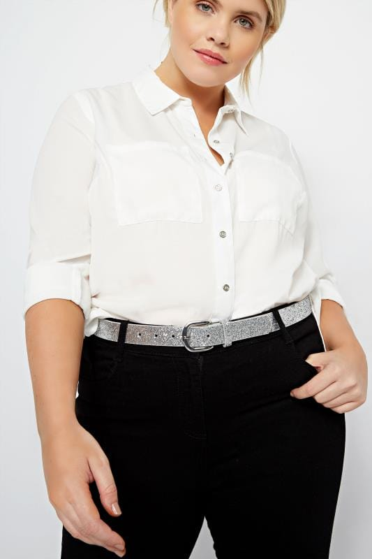Plus Size Belts Silver Glitter Belt