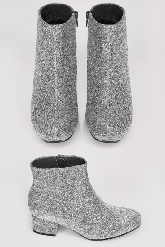 Silver Glitter Boots With Block Heel