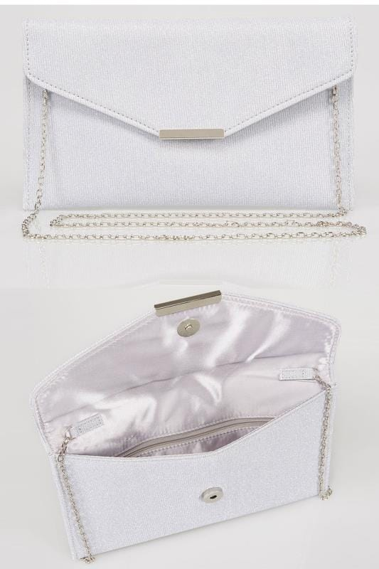 Clutch Bags Silver Glitter Clutch Bag With Cross Body Chain 152254