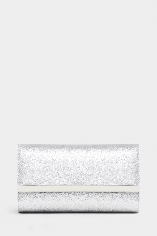 Plus Size Bags & Purses Silver Glitter Fold Over Clutch Bag