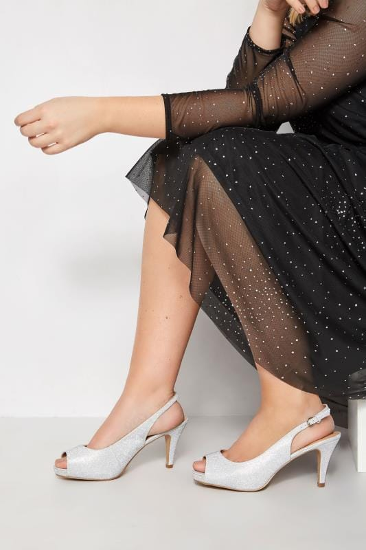 Plus Size Heels Silver Glittery Peep Toe Sling Back Heels In EEE Fit