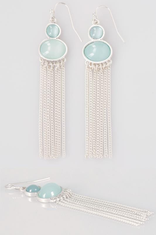 Plus Size Earrings Silver & Green Stone Drop Tassel Earrings