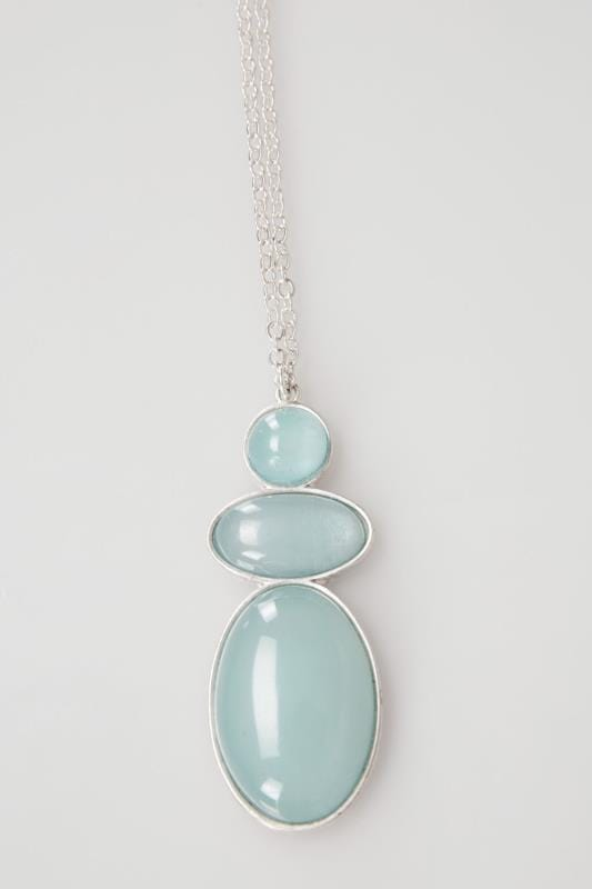 Silver & Green Stone Pendant Long Necklace
