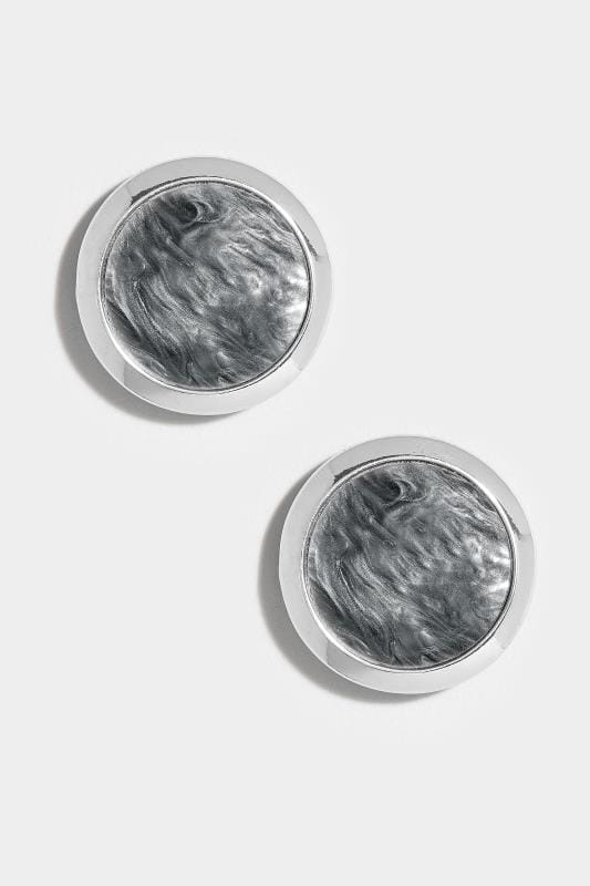 Silver & Grey Resin Stud Earrings