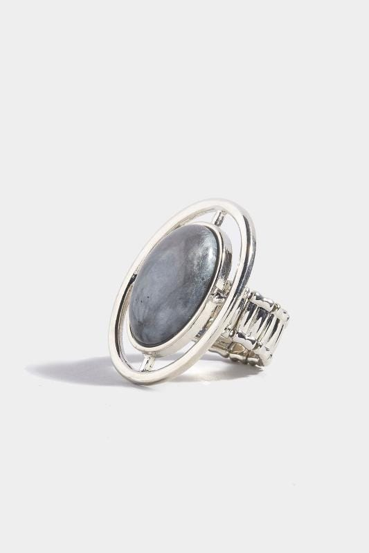 Plus Size Jewelry Silver & Grey Shield Resin Ring