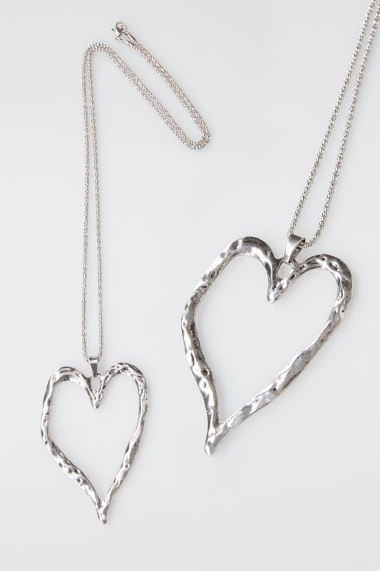 Silver Hammered Heart Pendant Necklace