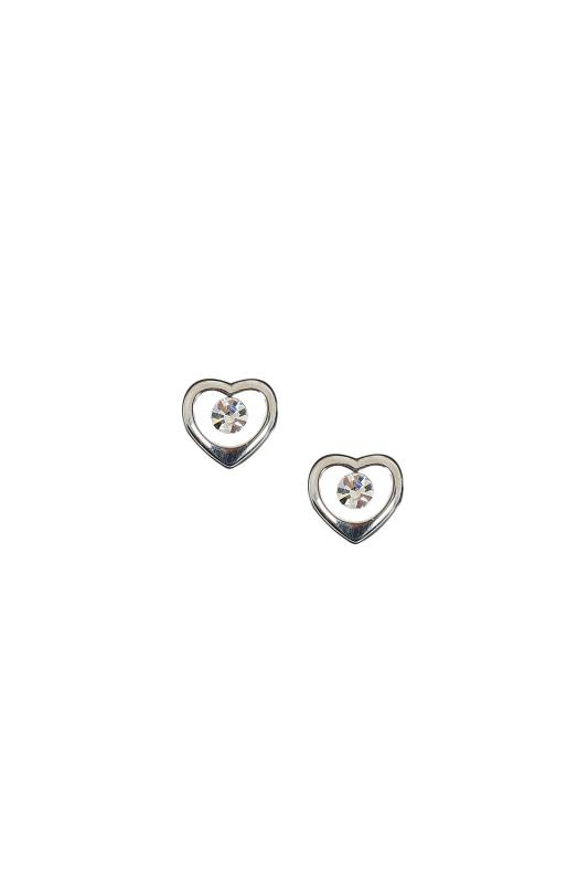 Silver Heart Earrings With Diamante Centre