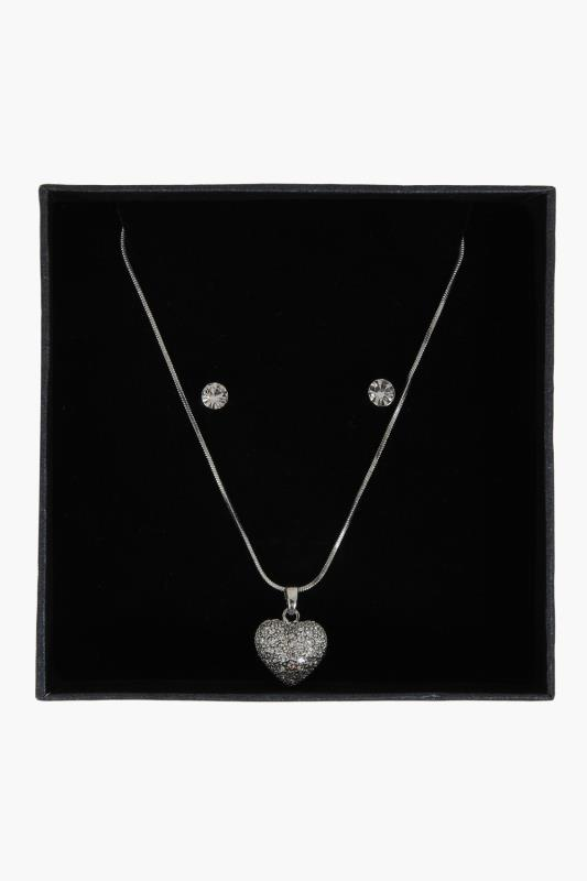 Silver Heart Necklace & Earring Box Set