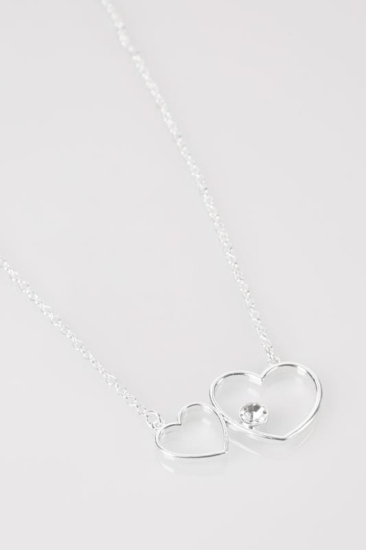 Silver Heart Necklace With Jewel Detail