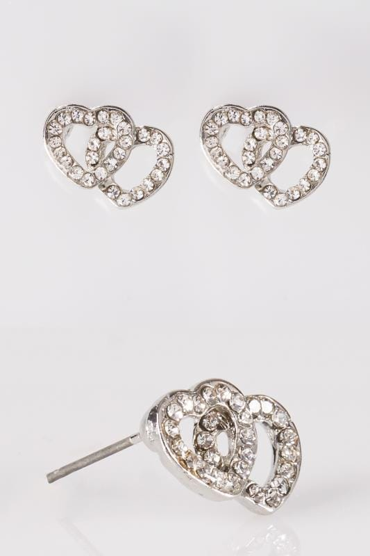 Silver Heart Shaped Diamante Stud Earrings
