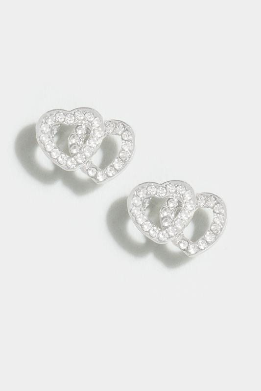 Silver Heart Diamante Stud Earrings