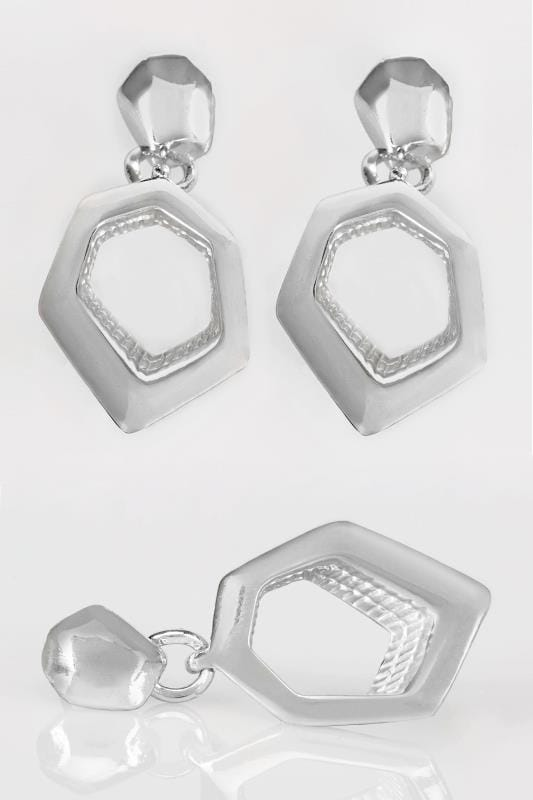 Plus Size Jewellery Silver Hexagon Dangle Earrings