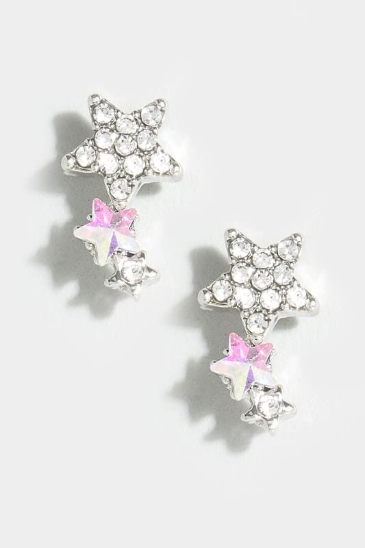 Silver & Iridescent Triple Star Stud Earrings